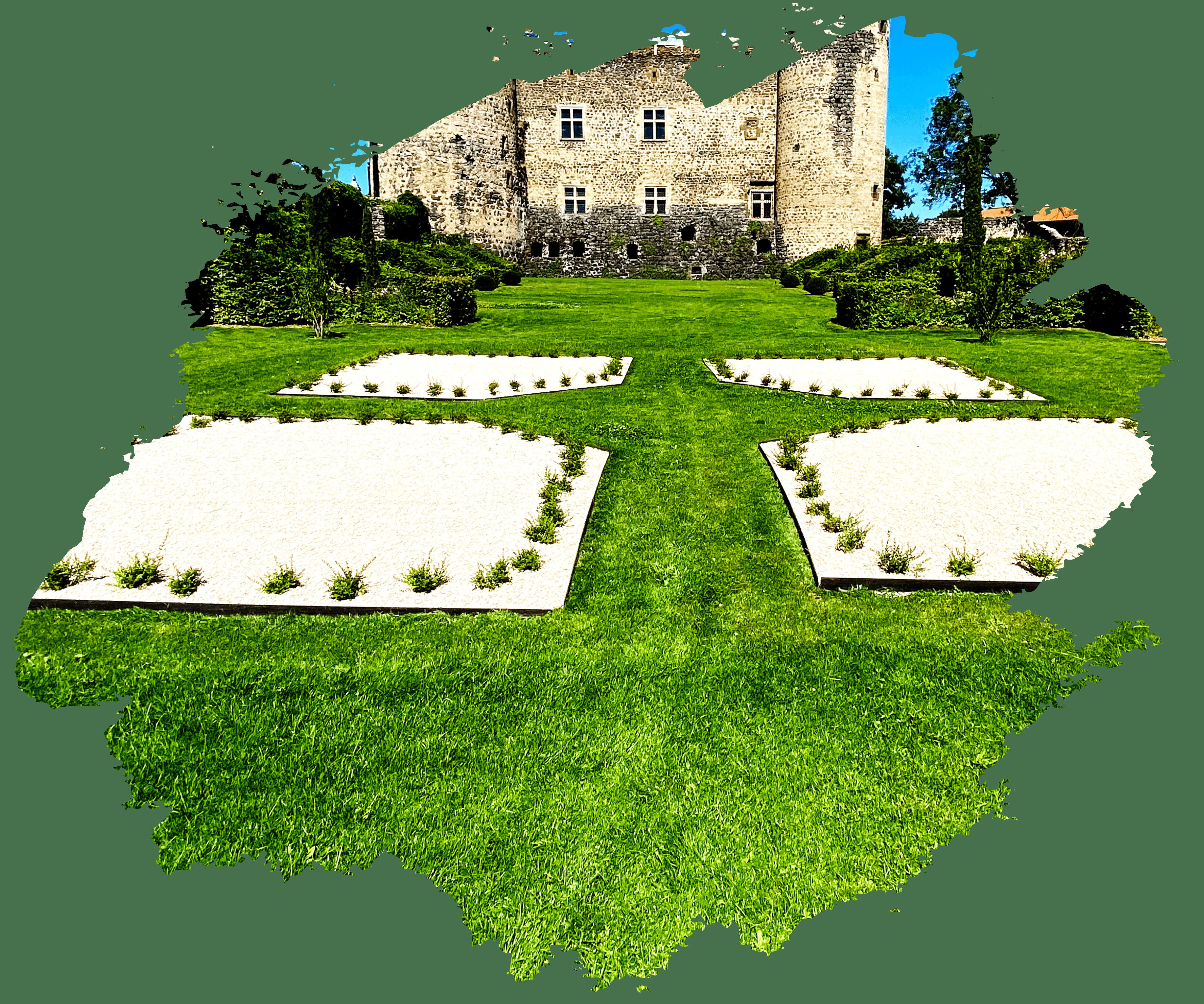 Photo du jardin à la française de la Forteresse de Saint Vidal